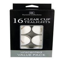Picture of 16pk Clear Cup Tealights  White