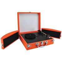 Picture of Pyle Pro Bluetooth Classic Vinyl Record Player Turntable With Foldout Speakers Amp Vinyl To Mp3 Recording Orange