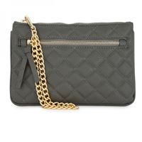 Picture of Alexis Grey Quilted Faux Leather Clutch With Gold Chain Wristlet