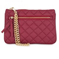 Picture of Alexis Red Quilted Faux Leather Clutch With Gold Chain Wristlet
