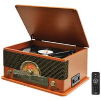 Picture of Pyle Pro Retrostyle Bluetooth Turntable With Vinyl To Mp3 Recording Cd Player Amp Cassette Player Wood Style